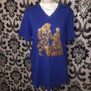 Bella Canvas Tops - Beauty & The Beast Glitter Blue T-Shirt Size M